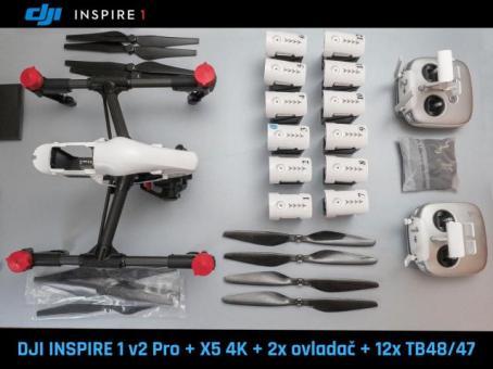 DJI Inspire 1 v2 Pro X5, 2x ovladači, 12 baterií v záruce.